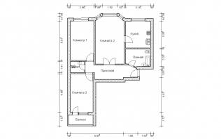 Серия П-3М. Перепланировка. Трёхкомнатная квартира (вар. 5)