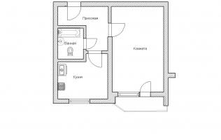 Серия П-44. План. Однокомнатная квартира