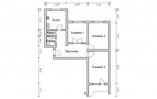 Серия П-44. План. Трёхкомнатная квартира