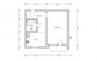 Серия П-44. Перепланировка (1). Однокомнатная квартира