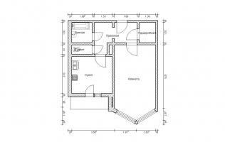 Серия П-44М. План. Однокомнатная квартира