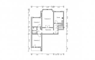 Серия П-44М. План. Трёхкомнатная квартира
