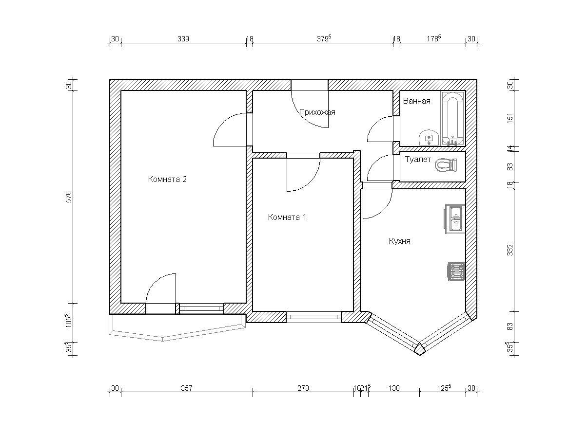 П44т планировки двухкомнатных квартир с размерами балкон..