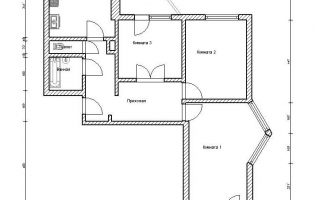 Серия П-44Т. План. Трёхкомнатная квартира