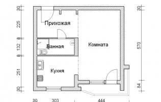 Серия П-44Т. Перепланировка (1). Однокомнатная квартира