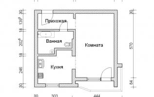 Серия П-44Т. Перепланировка (2). Однокомнатная квартира
