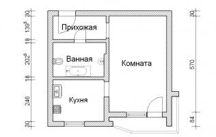 Серия П-44Т. Перепланировка (3). Однокомнатная квартира