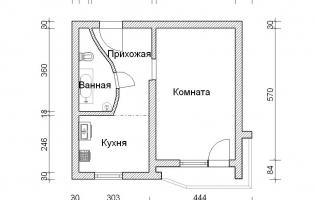 Серия П-44Т. Перепланировка (4). Однокомнатная квартира
