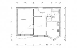Серия П-44Т. Перепланировка (1). Двухкомнатная квартира (вар. 1)