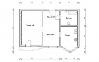 Серия П-44Т. Перепланировка (2). Двухкомнатная квартира (вар. 1)