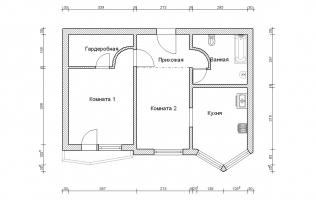 Серия П-44Т. Перепланировка (3). Двухкомнатная квартира (вар. 1)