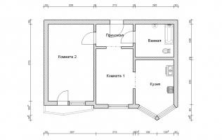 Серия П-44Т. Перепланировка (4). Двухкомнатная квартира (вар. 1)