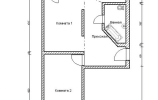 Серия П-44Т. Перепланировка (1). Двухкомнатная квартира (вар. 2)