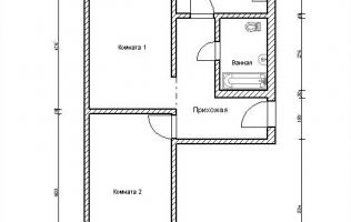 Серия П-44Т. Перепланировка (2). Двухкомнатная квартира (вар. 2)