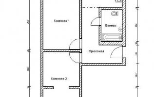 Серия П-44Т. Перепланировка (4). Двухкомнатная квартира (вар. 2)
