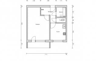 Серия П-46. План. Однокомнатная квартира