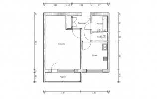 Серия П-46М. План. Однокомнатная квартира