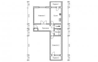Серия П-46М. План. Двухкомнатная квартира (вар. 1)
