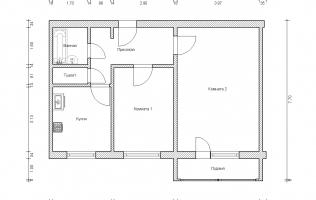Серия П-46М. План. Двухкомнатная квартира (вар. 2)