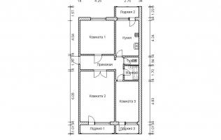 Серия П-46М. План. Трёхкомнатная квартира