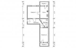 Серия П-46М. Перепланировка (1). Двухкомнатная квартира (вар. 1)