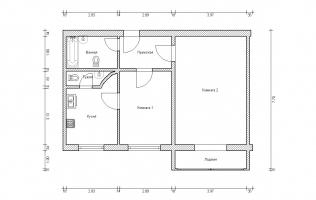 Серия П-46М. Перепланировка (1). Двухкомнатная квартира (вар.  2)