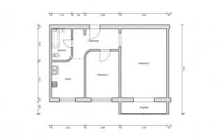 Серия П-46М. Перепланировка (2). Двухкомнатная квартира (вар. 2)